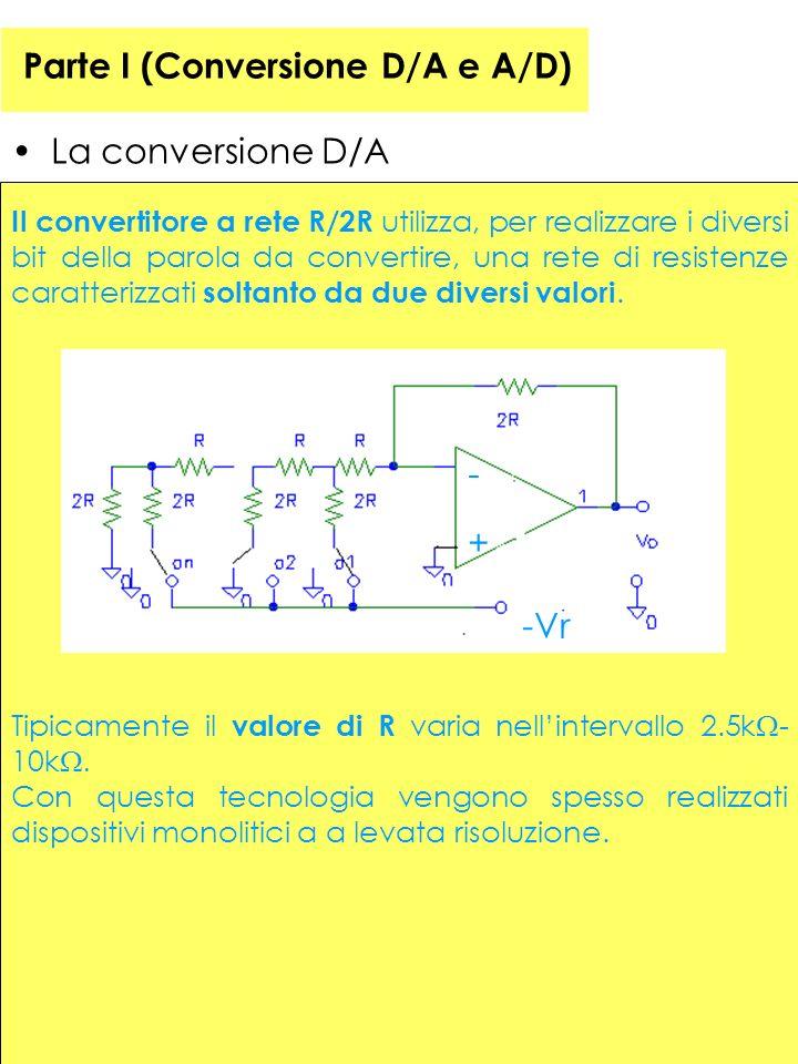 Parte I (Conversione D/A e A/D) La conversione D/A Il convertitore a rete R/2R utilizza, per realizzare i diversi bit della parola da convertire, una rete di resistenze caratterizzati soltanto da due diversi valori.