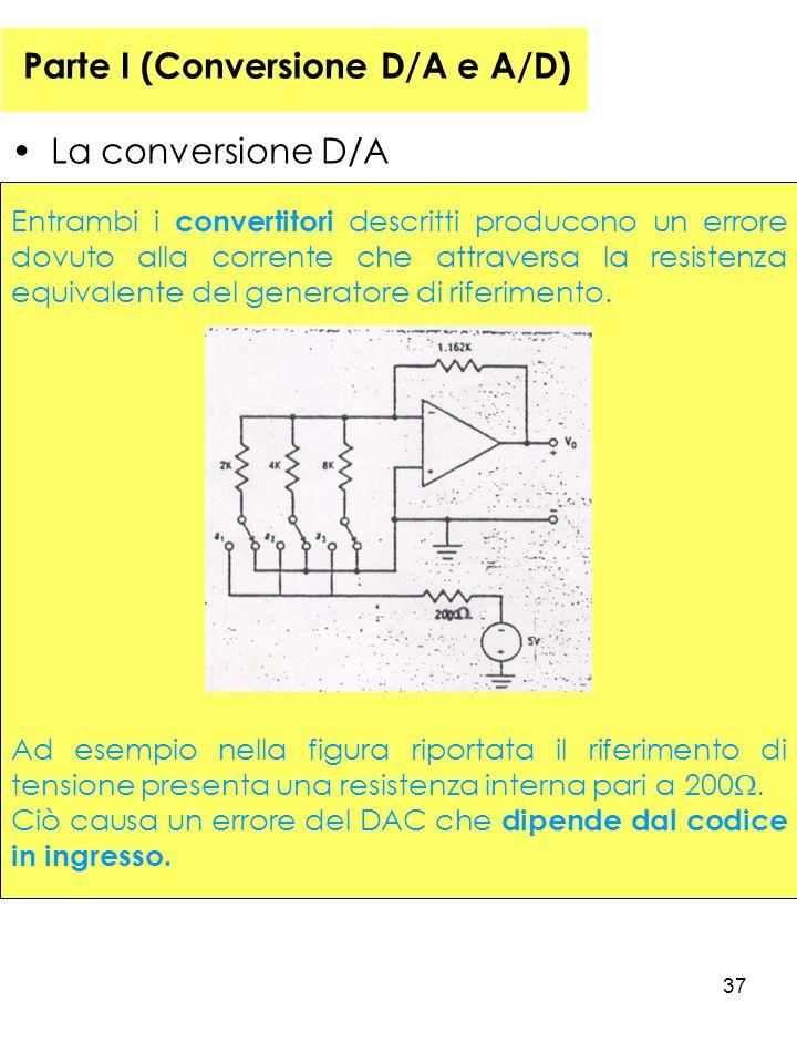 37 Parte I (Conversione D/A e A/D) La conversione D/A Entrambi i convertitori descritti producono un errore dovuto alla corrente che attraversa la resistenza equivalente del generatore di riferimento.