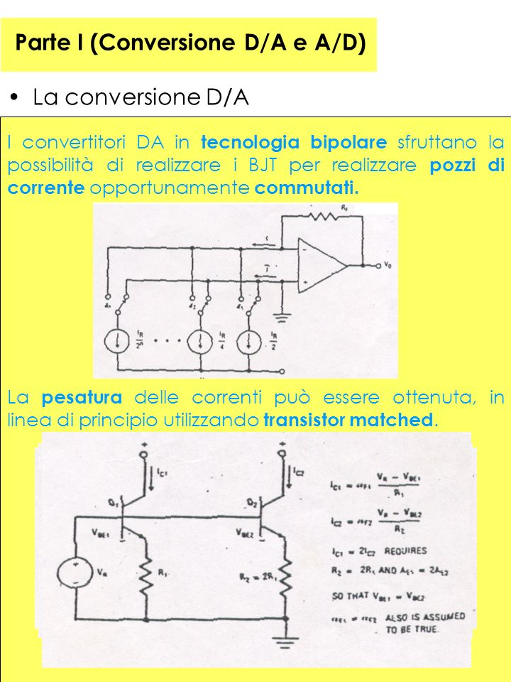 39 Parte I (Conversione D/A e A/D) La conversione D/A I convertitori DA in tecnologia bipolare sfruttano la possibilità di realizzare i BJT per realizzare pozzi di corrente opportunamente commutati.