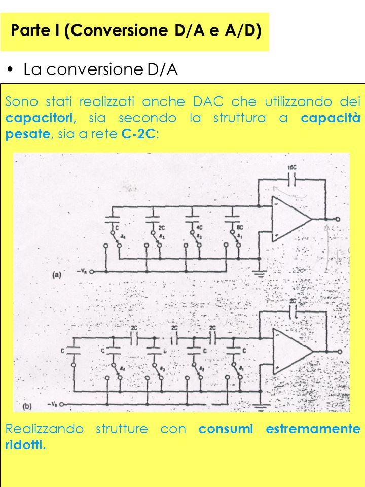 41 Parte I (Conversione D/A e A/D) La conversione D/A Sono stati realizzati anche DAC che utilizzando dei capacitori, sia secondo la struttura a capacità pesate, sia a rete C-2C : Realizzando strutture con consumi estremamente ridotti.