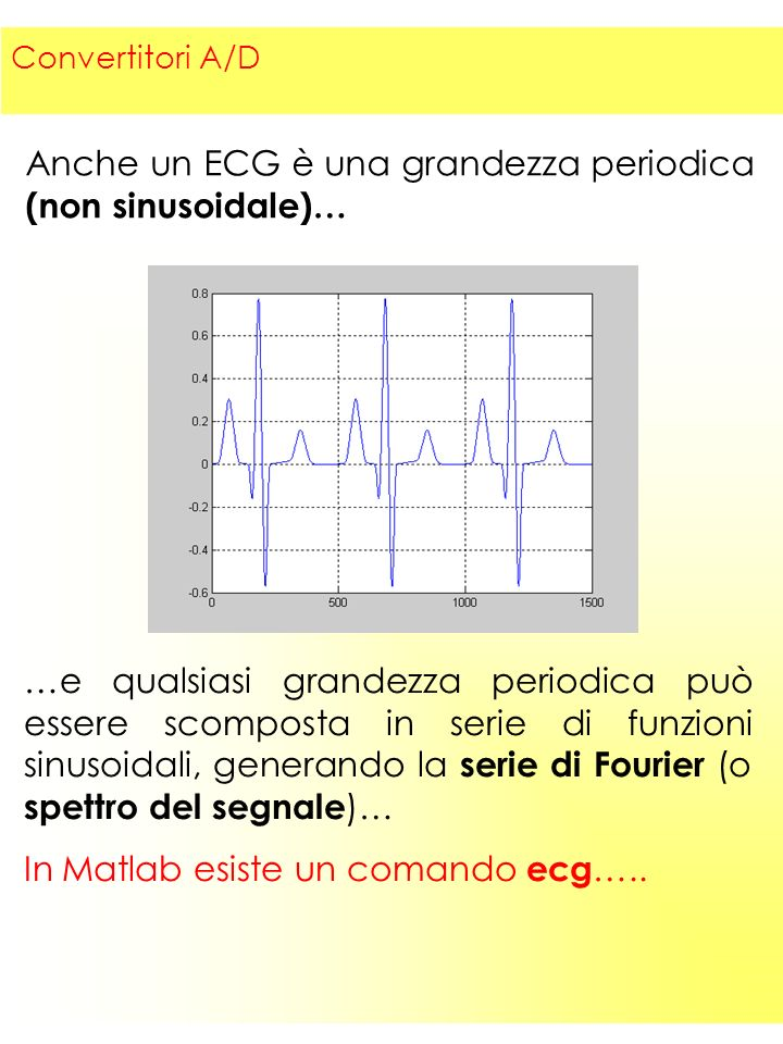 6 Anche un ECG è una grandezza periodica (non sinusoidale)… …e qualsiasi grandezza periodica può essere scomposta in serie di funzioni sinusoidali, generando la serie di Fourier (o spettro del segnale )… In Matlab esiste un comando ecg …..