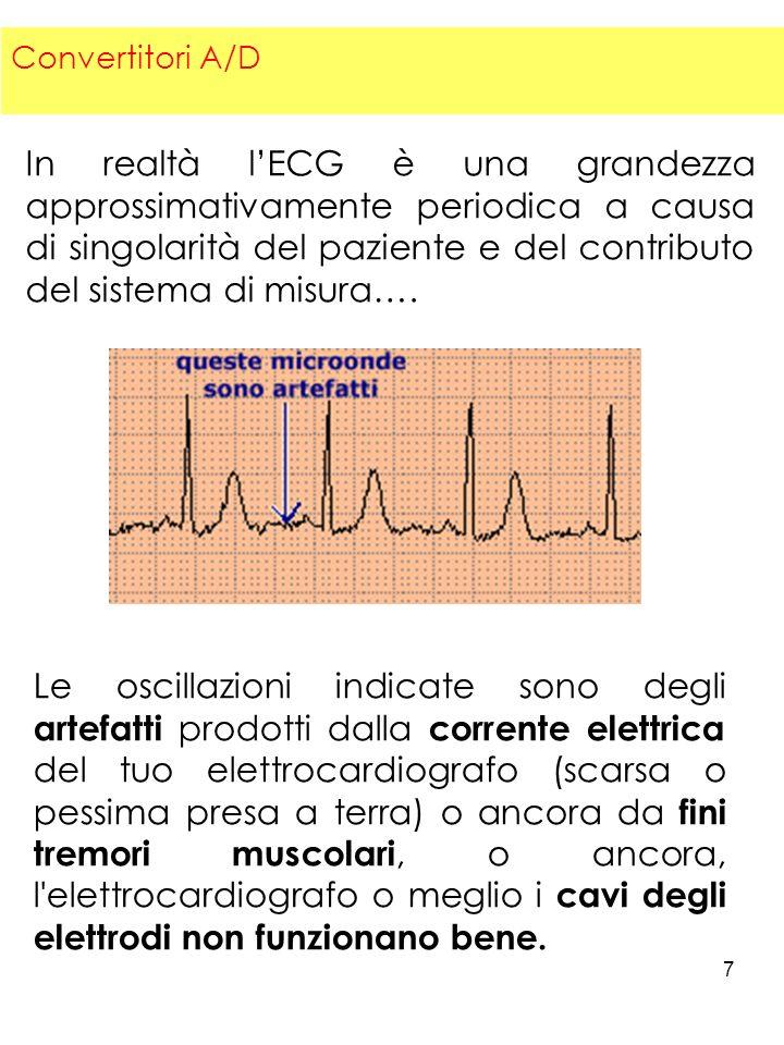 7 In realtà lECG è una grandezza approssimativamente periodica a causa di singolarità del paziente e del contributo del sistema di misura…. Le oscilla
