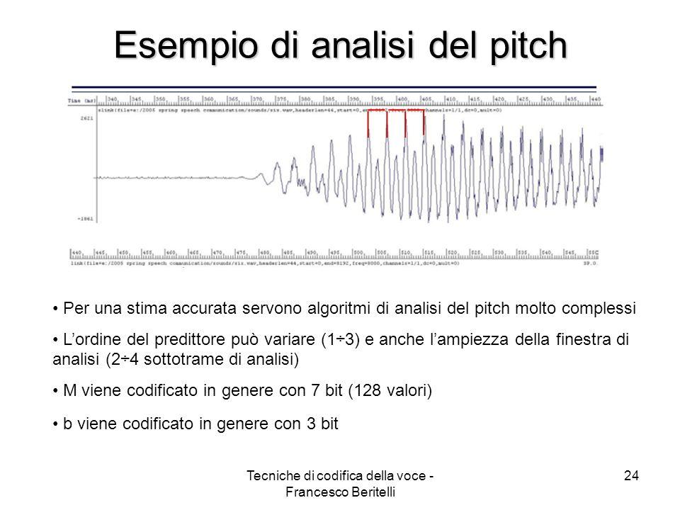 Tecniche di codifica della voce - Francesco Beritelli 23 Predizione a lungo termine LTP M rappresenta il periodo di vibrazione delle corde vocali (il suo inverso è il pitch o frequenza fondamentale)