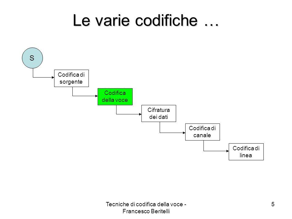 Tecniche di codifica della voce - Francesco Beritelli 25 CODIFICHE PARAMETRICHE Estrazione e codifica dei parametri del modello analitico associato al sistema che ha prodotto il segnale (sistema fonatorio) Modello a due stati del residuo di predizione a lungo termine r(n) Vantaggi: basso bit-rate (2,4 kbit/sec) Svantaggi: alto ritardo e qualità metallica Applicazioni in ambito militare (LPC10 DoD)