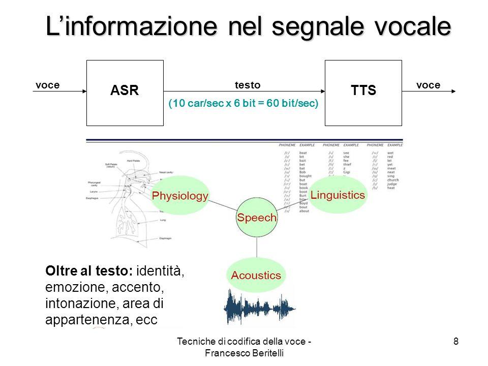 Tecniche di codifica della voce - Francesco Beritelli 8 Linformazione nel segnale vocale (10 car/sec x 6 bit = 60 bit/sec) ASRTTS voce testo Oltre al testo: identità, emozione, accento, intonazione, area di appartenenza, ecc