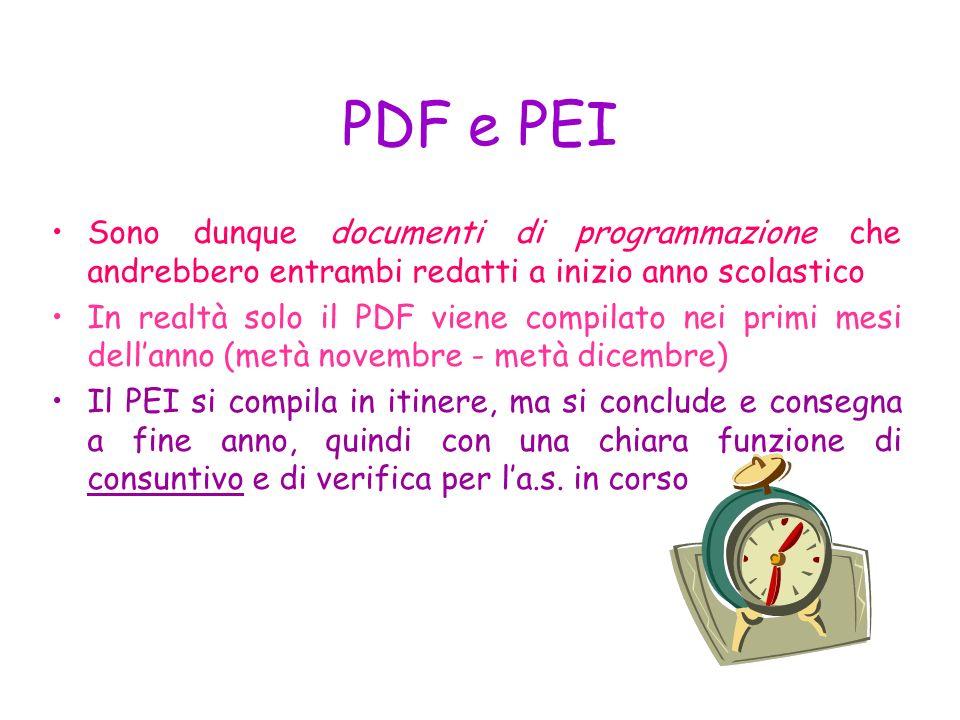 INFINE… E opportuno utilizzare i modelli di PDF e PEI in vigore e validi per scuole di ogni ordine e grado: Ciò permette omogeneità di progettazione F