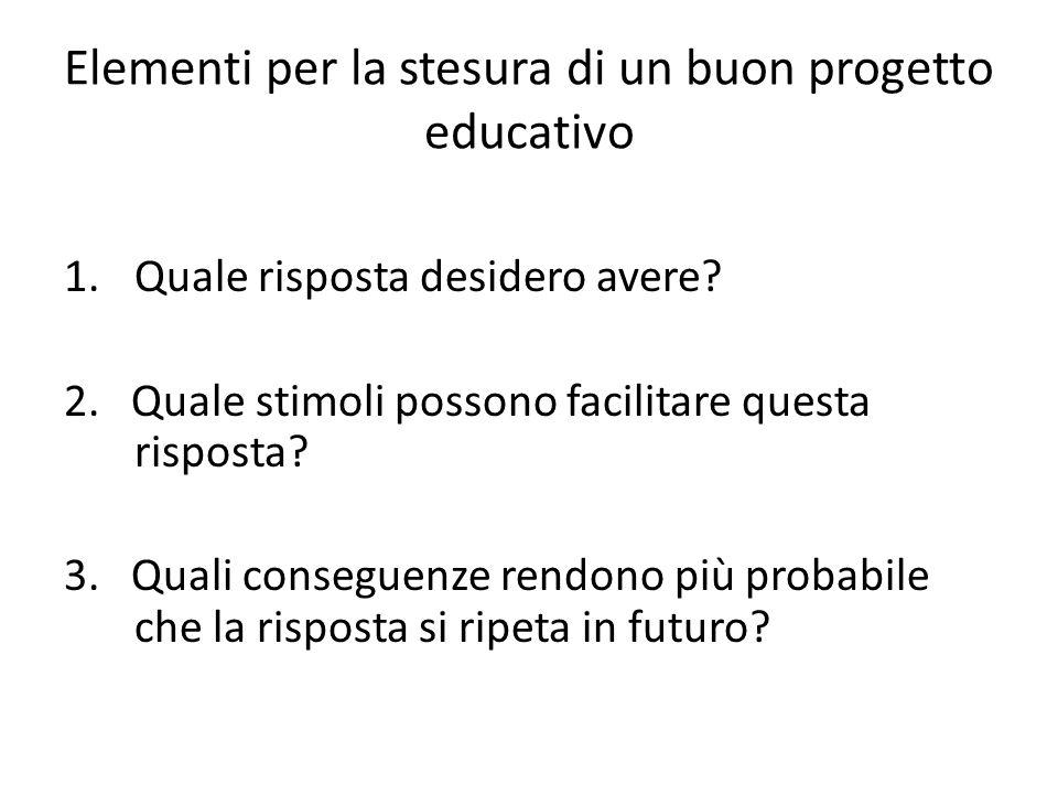 Elementi per la stesura di un buon progetto educativo 1.Quale risposta desidero avere.