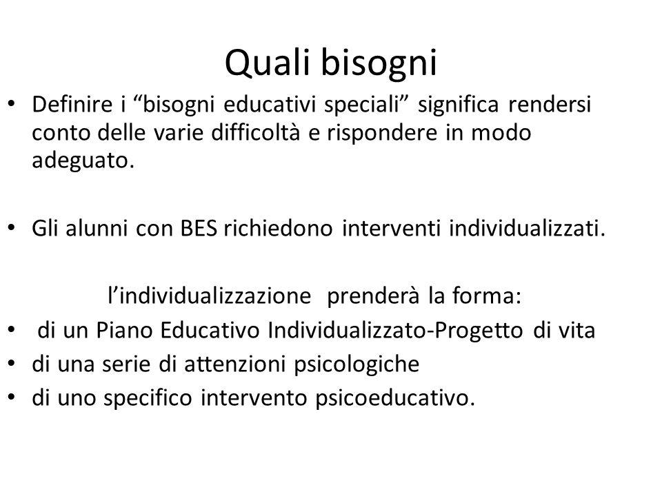 Quali bisogni Definire i bisogni educativi speciali significa rendersi conto delle varie difficoltà e rispondere in modo adeguato.