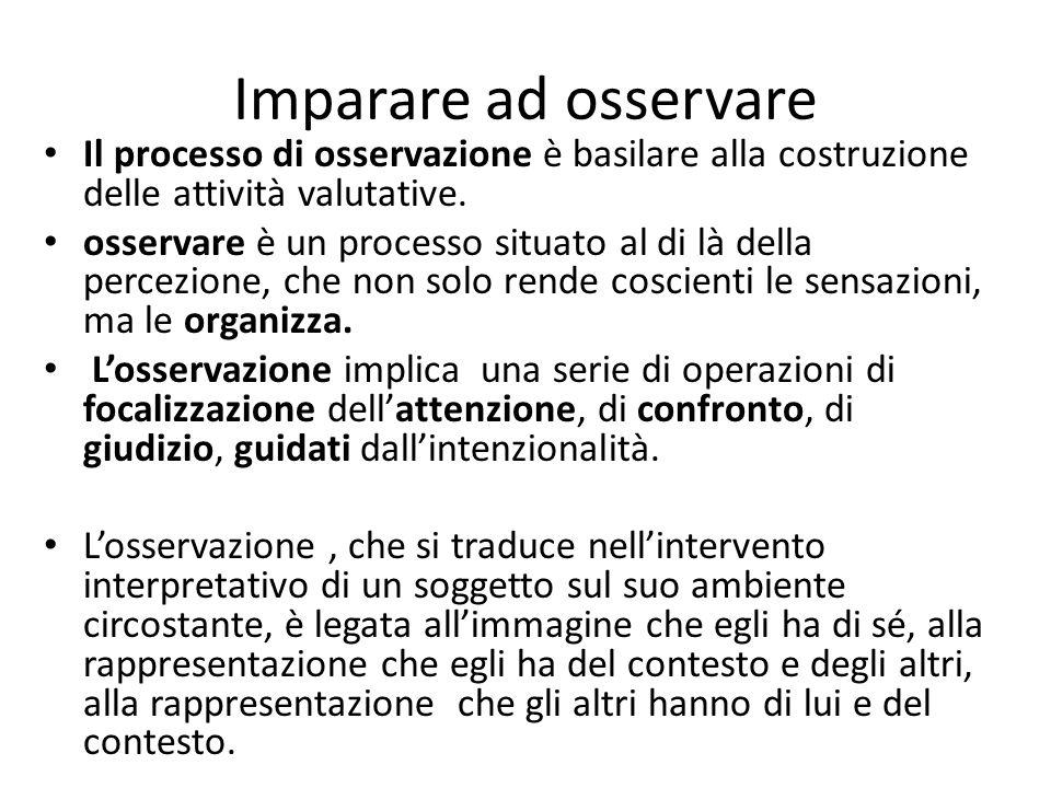 Imparare ad osservare Il processo di osservazione è basilare alla costruzione delle attività valutative.