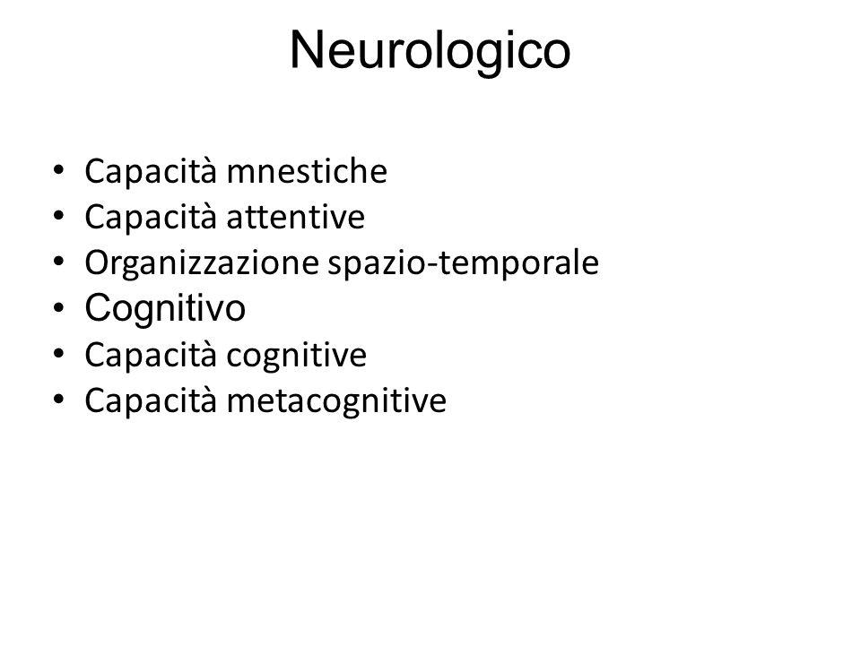 Neurologico Capacità mnestiche Capacità attentive Organizzazione spazio-temporale Cognitivo Capacità cognitive Capacità metacognitive