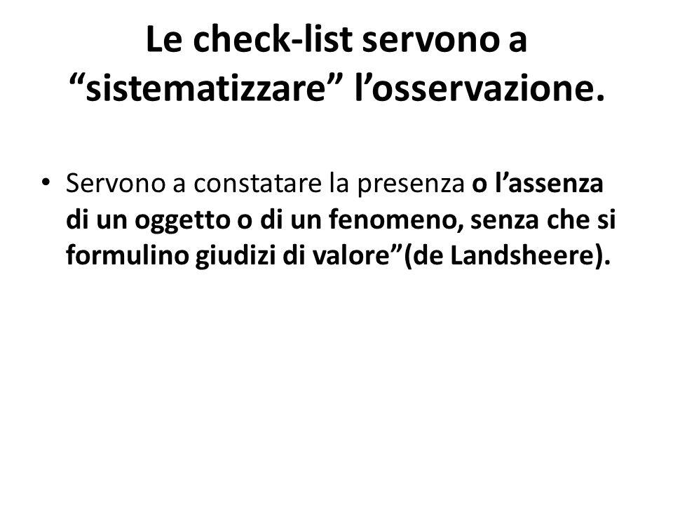 Le check-list servono a sistematizzare losservazione.