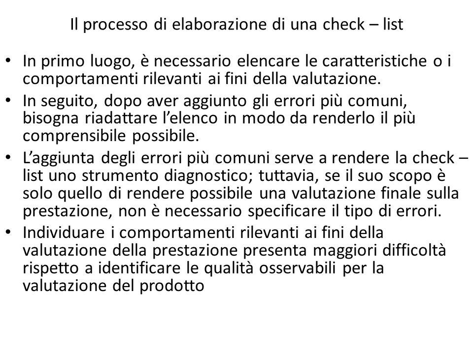 Il processo di elaborazione di una check – list In primo luogo, è necessario elencare le caratteristiche o i comportamenti rilevanti ai fini della valutazione.
