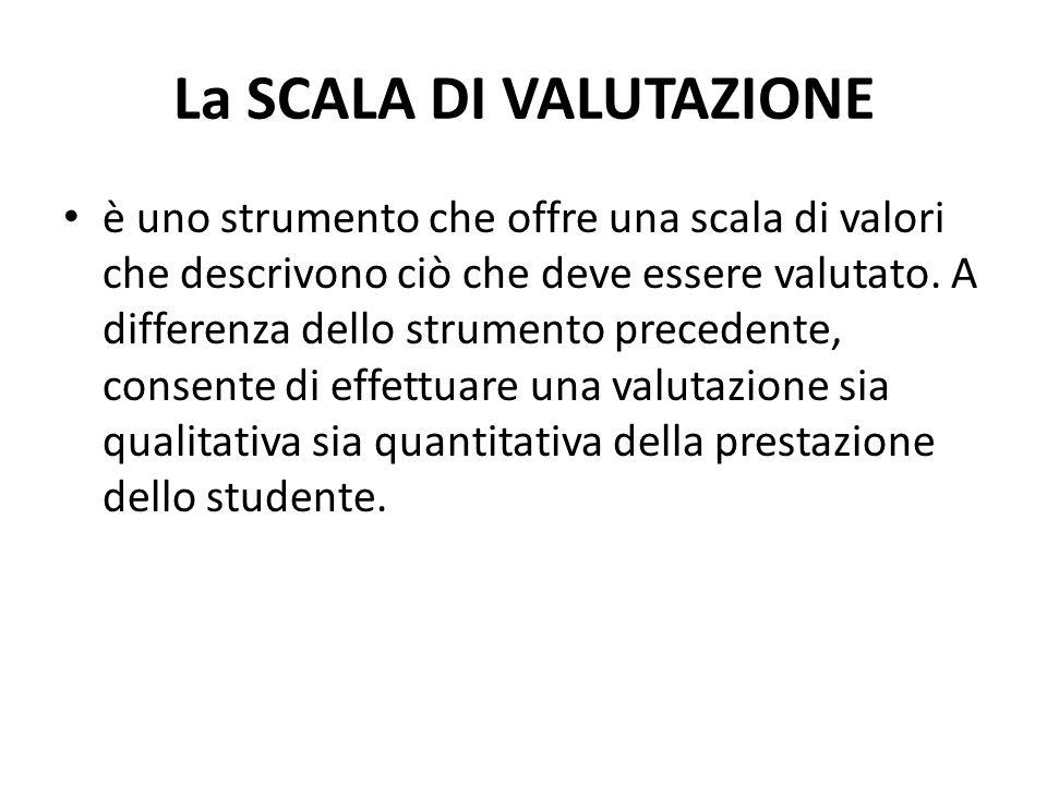 La SCALA DI VALUTAZIONE è uno strumento che offre una scala di valori che descrivono ciò che deve essere valutato.