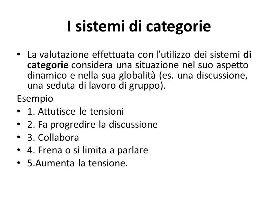 I sistemi di categorie La valutazione effettuata con lutilizzo dei sistemi di categorie considera una situazione nel suo aspetto dinamico e nella sua globalità (es.