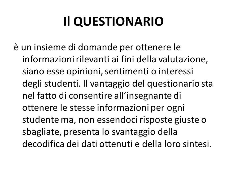 Il QUESTIONARIO è un insieme di domande per ottenere le informazioni rilevanti ai fini della valutazione, siano esse opinioni, sentimenti o interessi degli studenti.