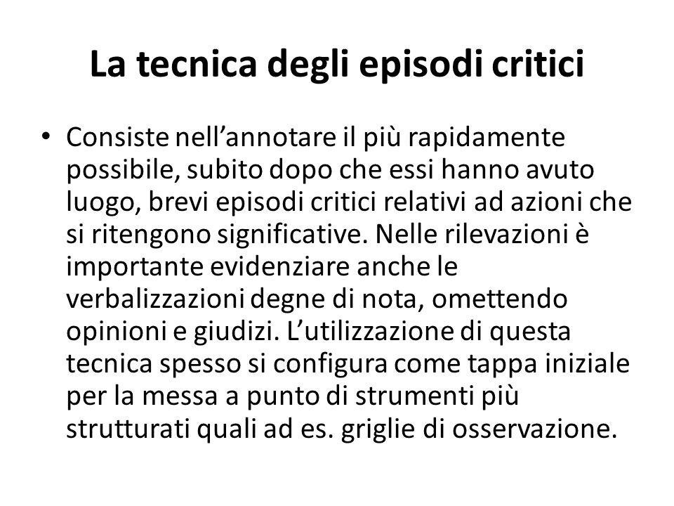 La tecnica degli episodi critici Consiste nellannotare il più rapidamente possibile, subito dopo che essi hanno avuto luogo, brevi episodi critici relativi ad azioni che si ritengono significative.