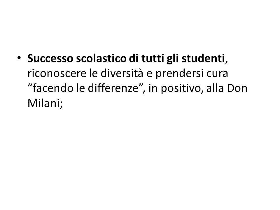 Successo scolastico di tutti gli studenti, riconoscere le diversità e prendersi cura facendo le differenze, in positivo, alla Don Milani;