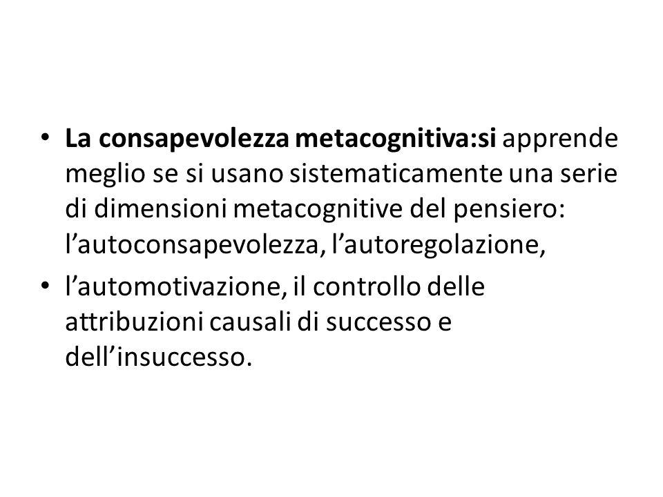 La consapevolezza metacognitiva:si apprende meglio se si usano sistematicamente una serie di dimensioni metacognitive del pensiero: lautoconsapevolezza, lautoregolazione, lautomotivazione, il controllo delle attribuzioni causali di successo e dellinsuccesso.
