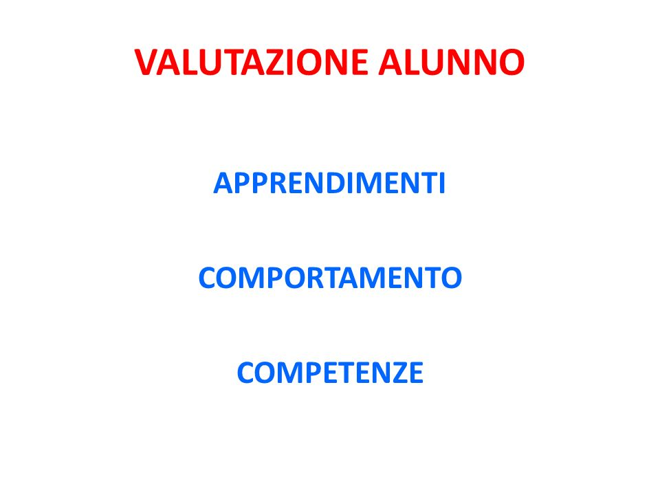 VALUTAZIONE ALUNNO APPRENDIMENTI COMPORTAMENTO COMPETENZE