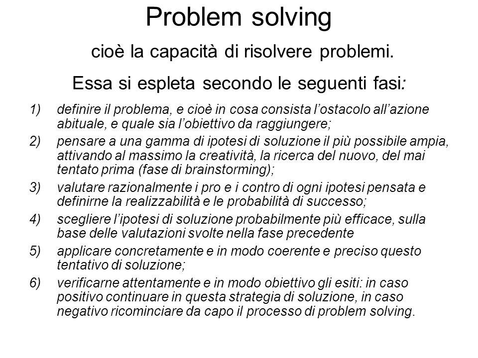 Problem solving cioè la capacità di risolvere problemi. Essa si espleta secondo le seguenti fasi: 1)definire il problema, e cioè in cosa consista lost