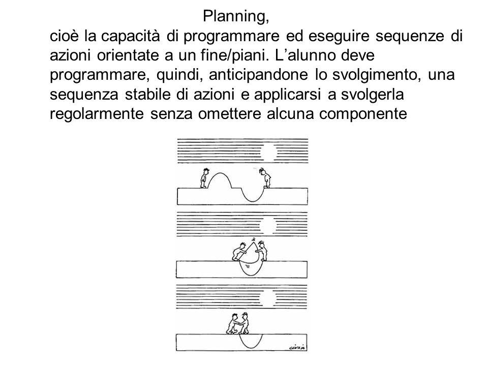 Planning, cioè la capacità di programmare ed eseguire sequenze di azioni orientate a un fine/piani. Lalunno deve programmare, quindi, anticipandone lo