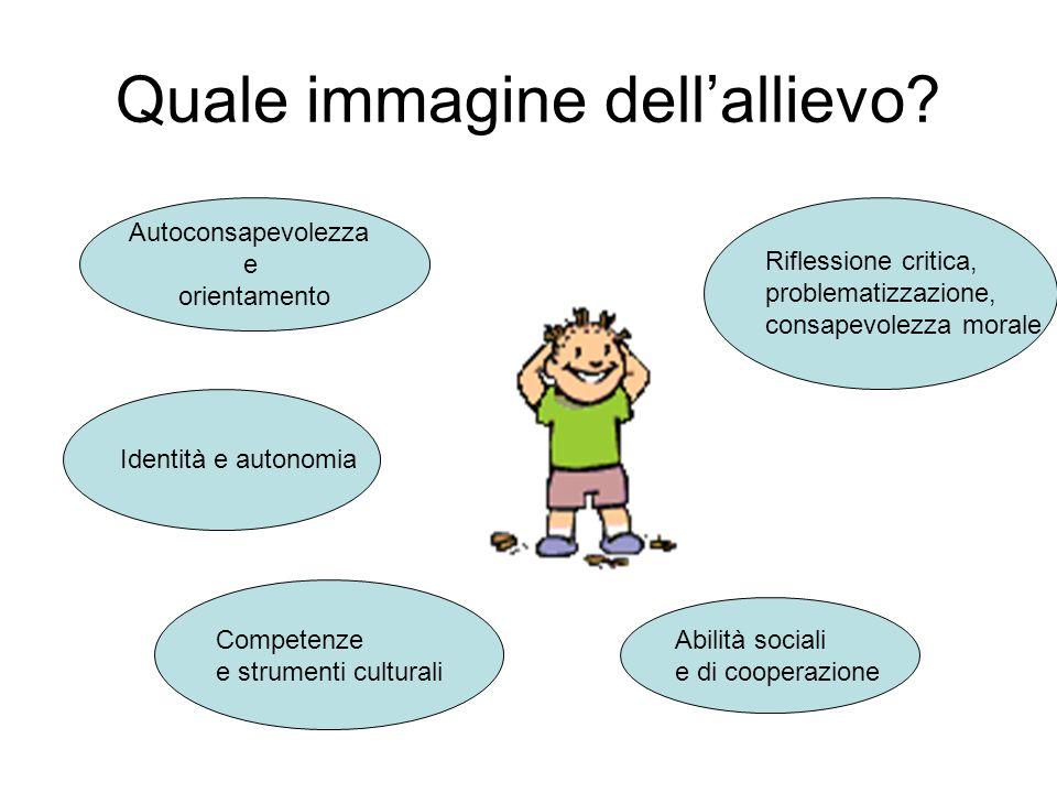 Quale immagine dellallievo? Competenze e strumenti culturali Identità e autonomia Autoconsapevolezza e orientamento Abilità sociali e di cooperazione