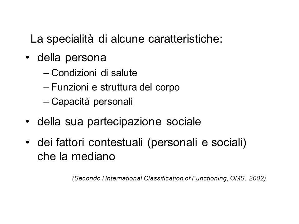 La specialità di alcune caratteristiche: della persona –Condizioni di salute –Funzioni e struttura del corpo –Capacità personali della sua partecipazi