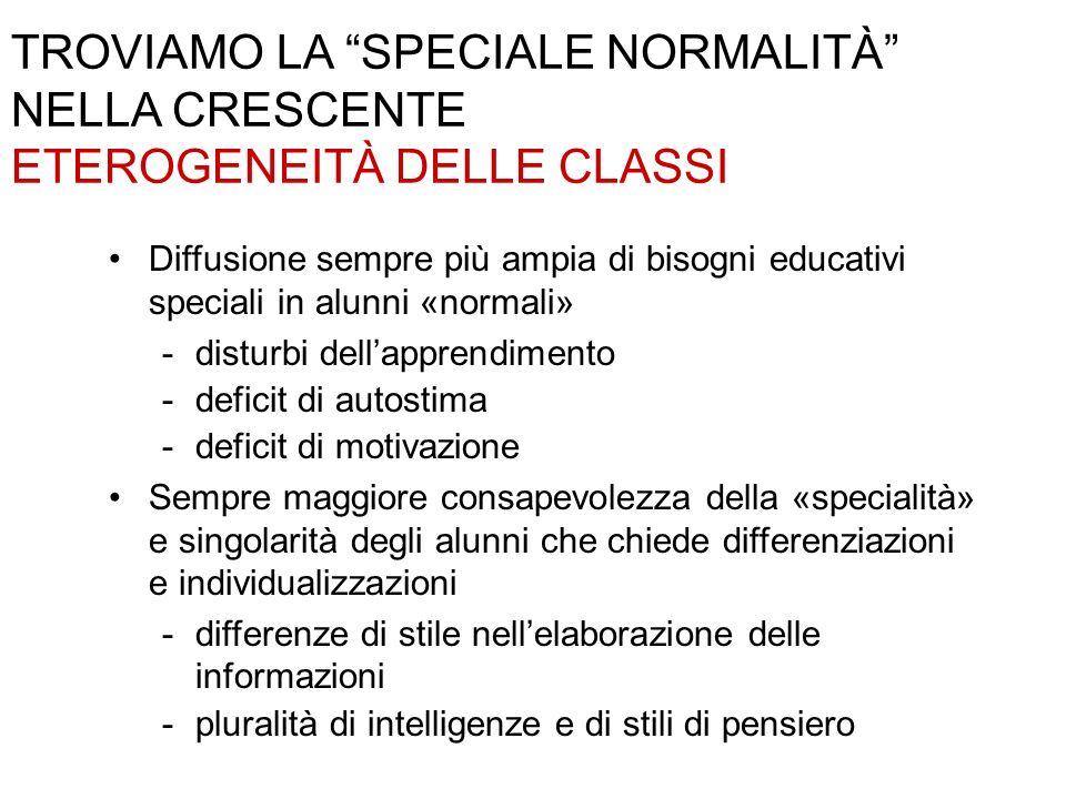 TROVIAMO LA SPECIALE NORMALITÀ NELLA CRESCENTE ETEROGENEITÀ DELLE CLASSI Diffusione sempre più ampia di bisogni educativi speciali in alunni «normali»