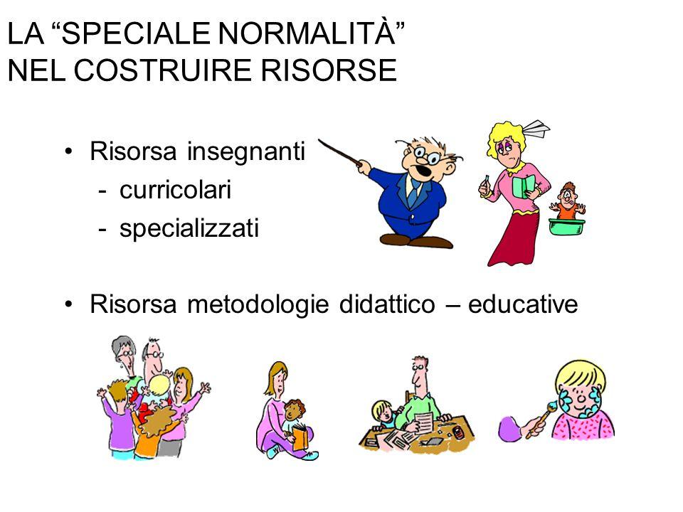 LA SPECIALE NORMALITÀ NEL COSTRUIRE RISORSE Risorsa insegnanti -curricolari -specializzati Risorsa metodologie didattico – educative