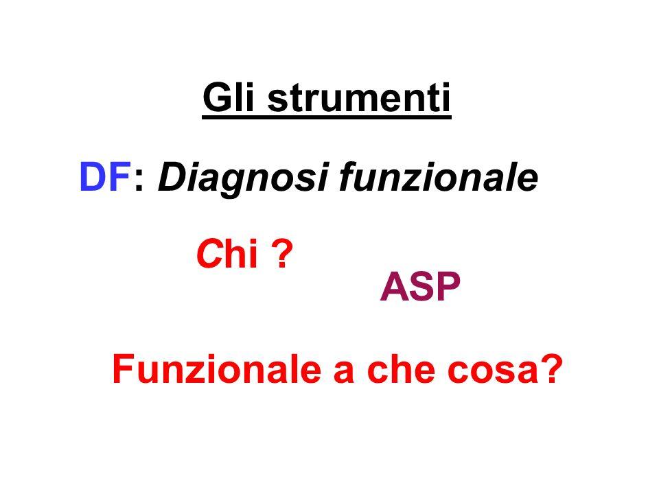 Gli strumenti DF: Diagnosi funzionale Chi ? Funzionale a che cosa? ASP
