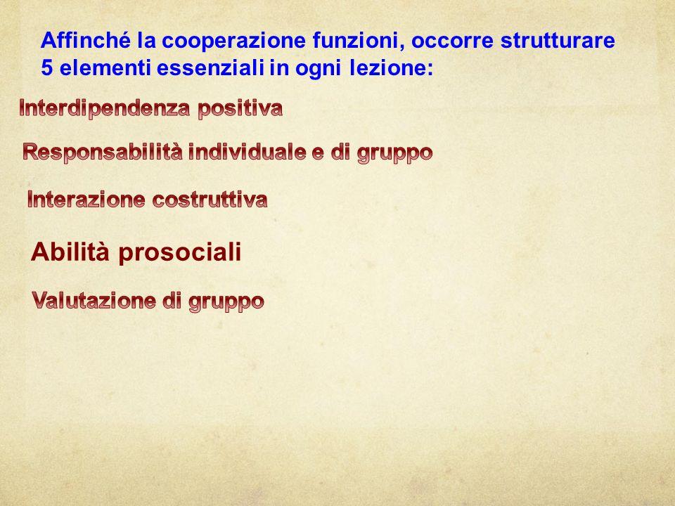 Affinché la cooperazione funzioni, occorre strutturare 5 elementi essenziali in ogni lezione: Abilità prosociali