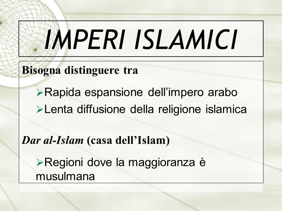 IMPERI ISLAMICI Bisogna distinguere tra Rapida espansione dellimpero arabo Lenta diffusione della religione islamica Dar al-Islam (casa dellIslam) Reg