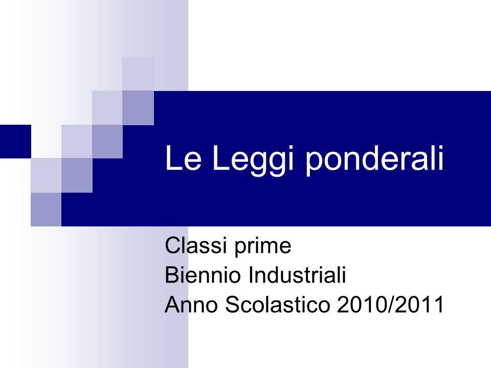 Le Leggi ponderali Classi prime Biennio Industriali Anno Scolastico 2010/2011