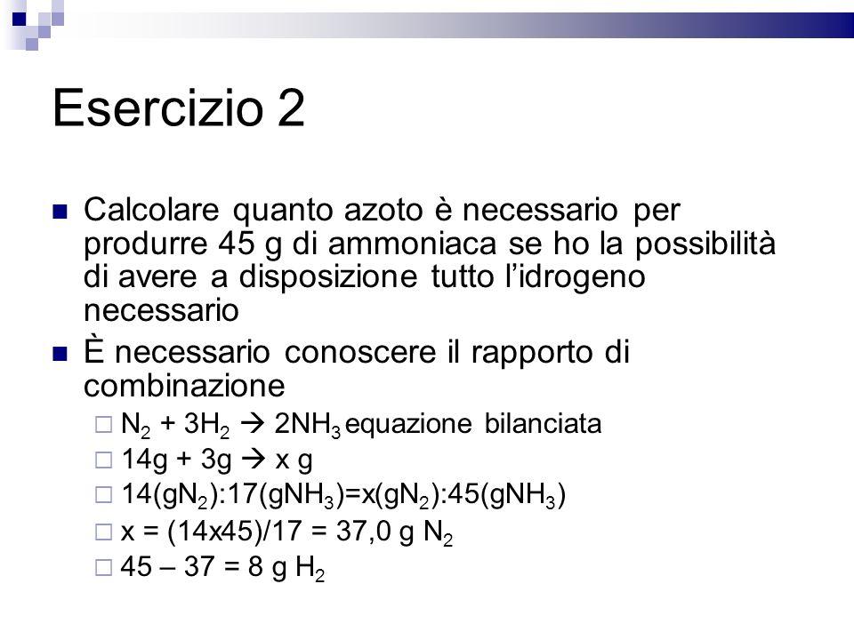 Esercizio 2 Calcolare quanto azoto è necessario per produrre 45 g di ammoniaca se ho la possibilità di avere a disposizione tutto lidrogeno necessario