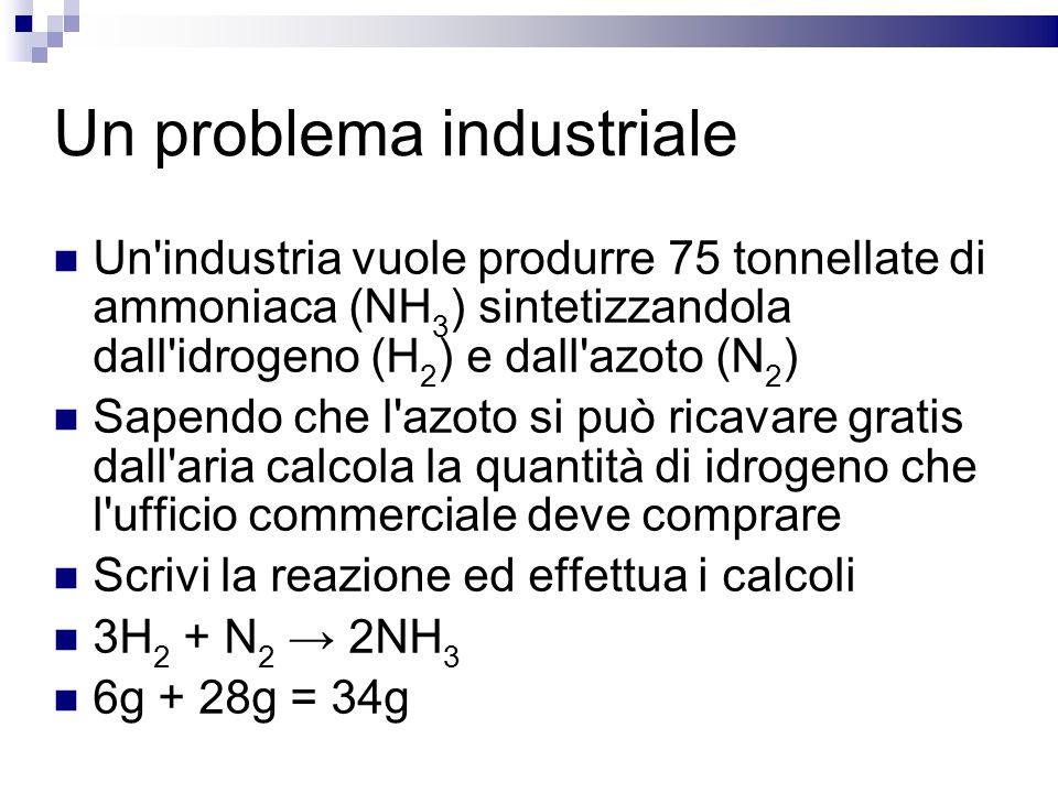 Un problema industriale Un'industria vuole produrre 75 tonnellate di ammoniaca (NH 3 ) sintetizzandola dall'idrogeno (H 2 ) e dall'azoto (N 2 ) Sapend
