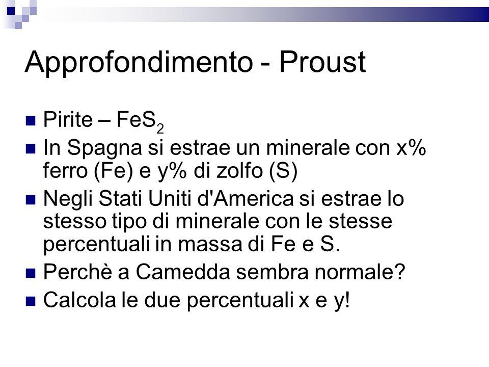 Approfondimento - Proust Pirite – FeS 2 In Spagna si estrae un minerale con x% ferro (Fe) e y% di zolfo (S) Negli Stati Uniti d'America si estrae lo s