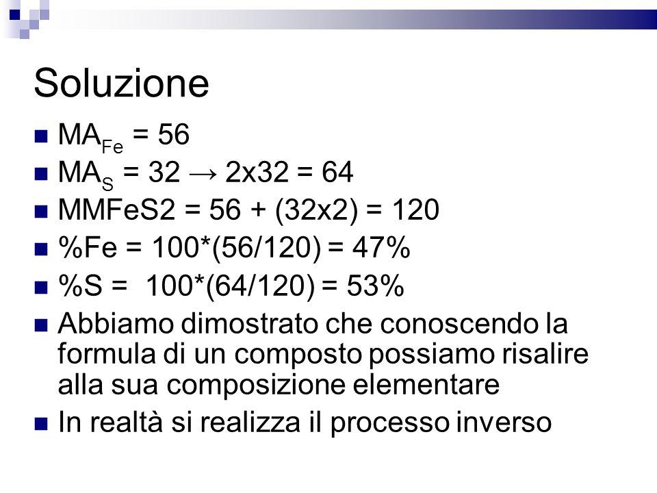 Soluzione MA Fe = 56 MA S = 32 2x32 = 64 MMFeS2 = 56 + (32x2) = 120 %Fe = 100*(56/120) = 47% %S = 100*(64/120) = 53% Abbiamo dimostrato che conoscendo