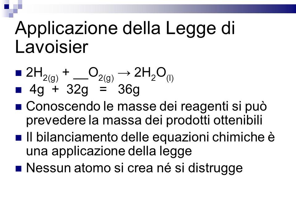 Applicazione della Legge di Lavoisier 2H 2(g) + __O 2(g) 2H 2 O (l) 4g + 32g = 36g Conoscendo le masse dei reagenti si può prevedere la massa dei prod