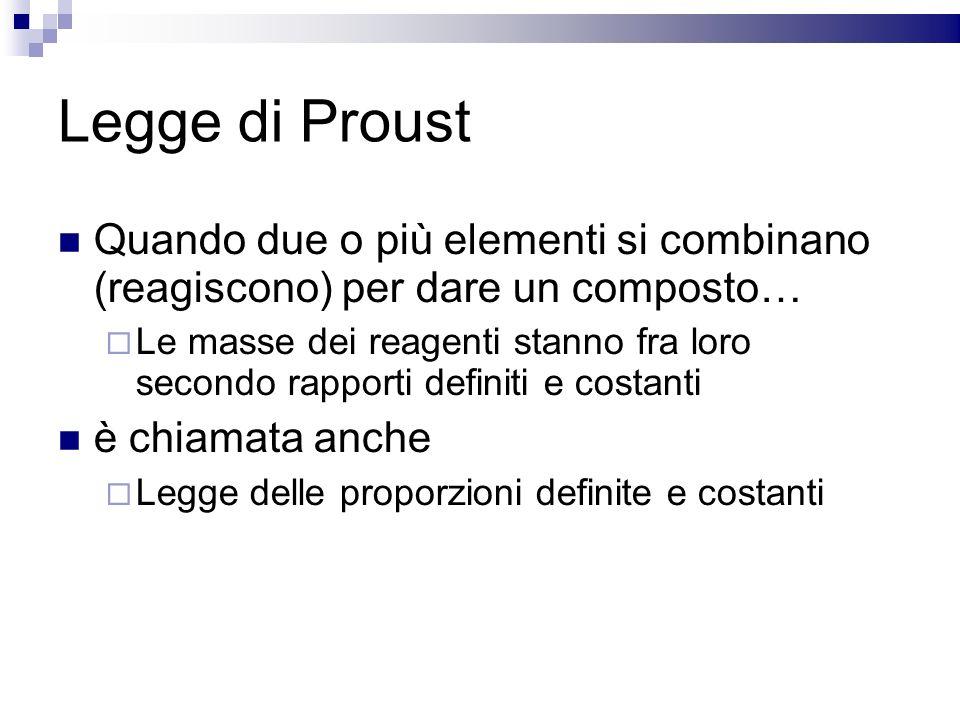 Legge di Proust Quando due o più elementi si combinano (reagiscono) per dare un composto… Le masse dei reagenti stanno fra loro secondo rapporti defin