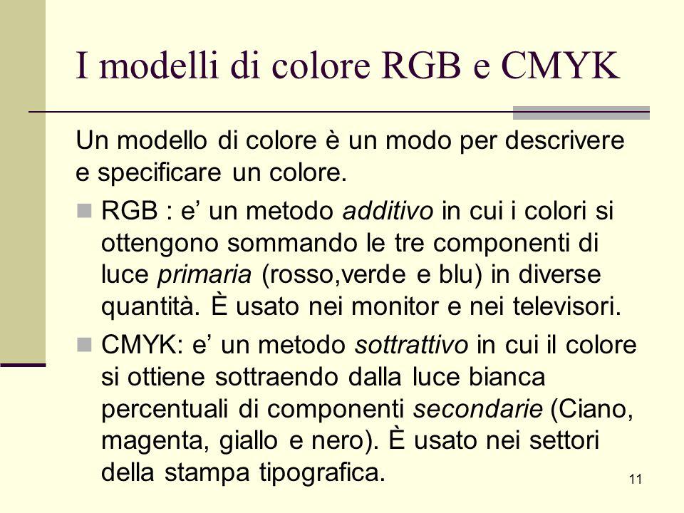 I modelli di colore RGB e CMYK Un modello di colore è un modo per descrivere e specificare un colore. RGB : e un metodo additivo in cui i colori si ot