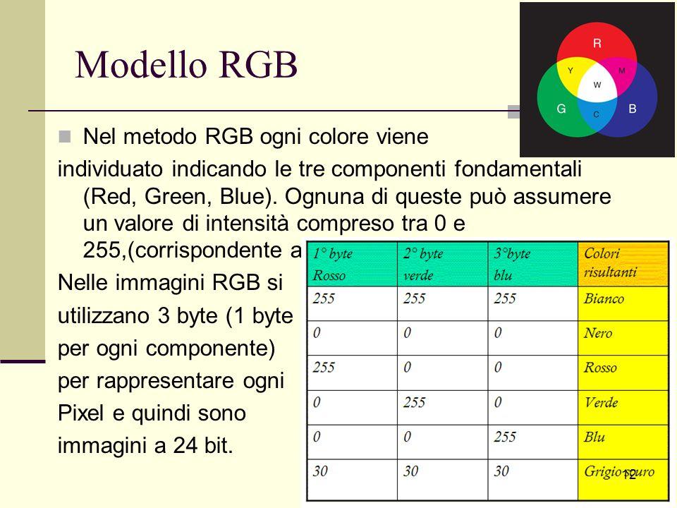 Modello RGB Nel metodo RGB ogni colore viene individuato indicando le tre componenti fondamentali (Red, Green, Blue). Ognuna di queste può assumere un