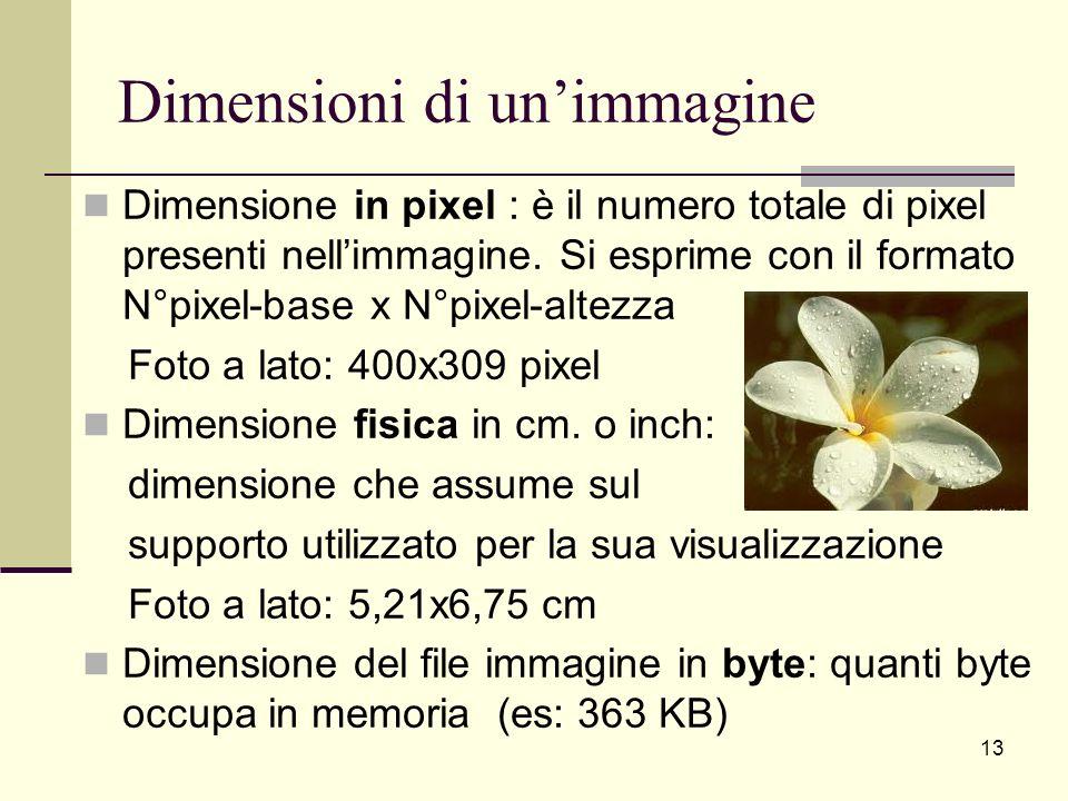 Dimensioni di unimmagine Dimensione in pixel : è il numero totale di pixel presenti nellimmagine. Si esprime con il formato N°pixel-base x N°pixel-alt