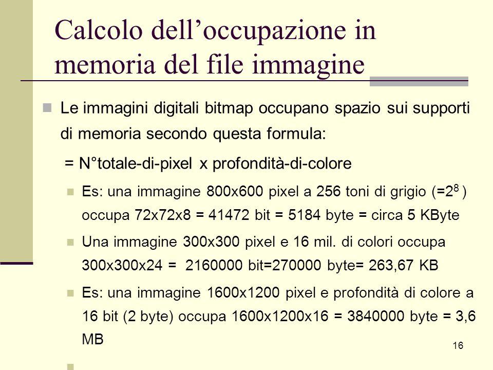 Calcolo delloccupazione in memoria del file immagine Le immagini digitali bitmap occupano spazio sui supporti di memoria secondo questa formula: = N°t