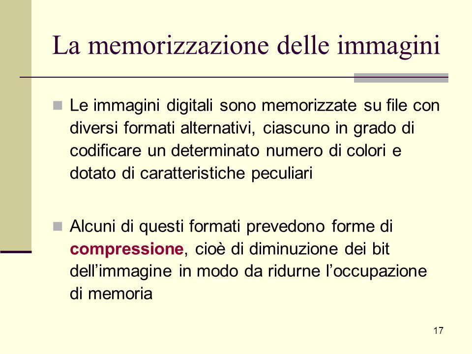 La memorizzazione delle immagini Le immagini digitali sono memorizzate su file con diversi formati alternativi, ciascuno in grado di codificare un det