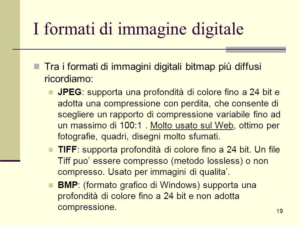 I formati di immagine digitale Tra i formati di immagini digitali bitmap più diffusi ricordiamo: JPEG: supporta una profondità di colore fino a 24 bit