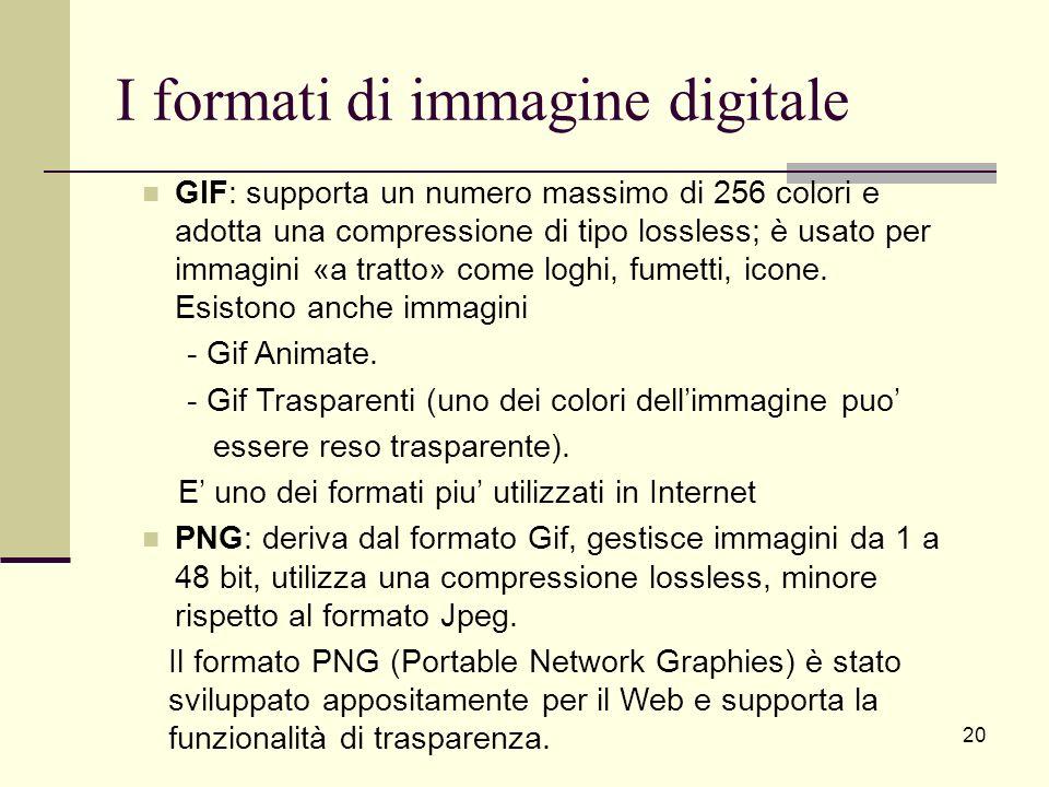 I formati di immagine digitale GIF: supporta un numero massimo di 256 colori e adotta una compressione di tipo lossless; è usato per immagini «a tratt