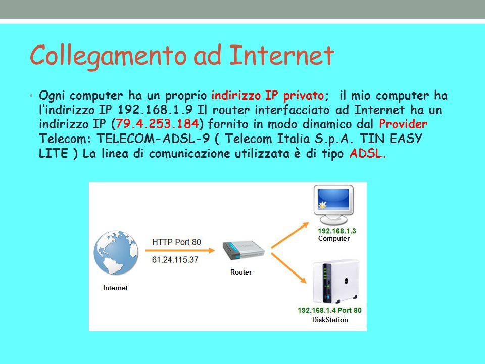Collegamento ad Internet Ogni computer ha un proprio indirizzo IP privato; il mio computer ha lindirizzo IP 192.168.1.9 Il router interfacciato ad Int