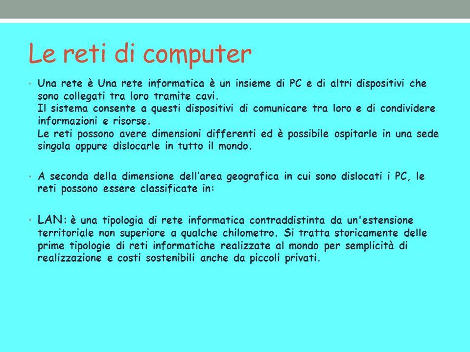Le reti di computer Una rete è Una rete informatica è un insieme di PC e di altri dispositivi che sono collegati tra loro tramite cavi. Il sistema con