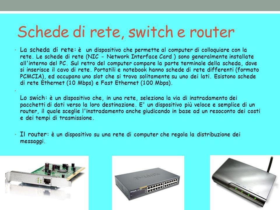 Schede di rete, switch e router La scheda di rete: è un dispositivo che permette al computer di colloquiare con la rete. Le schede di rete (NIC - Netw