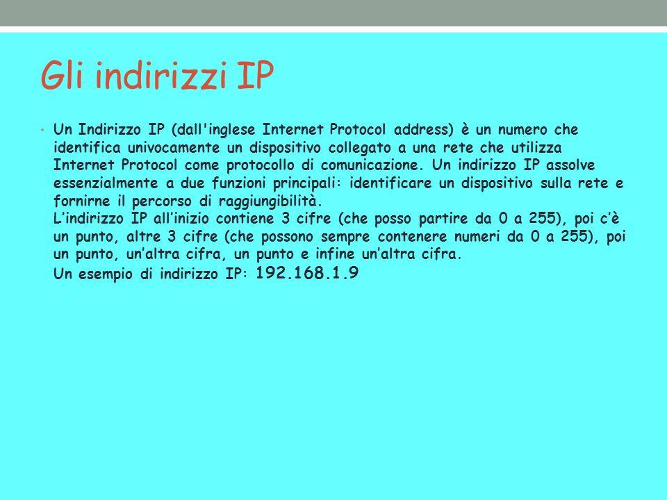 Gli indirizzi IP Un Indirizzo IP (dall inglese Internet Protocol address) è un numero che identifica univocamente un dispositivo collegato a una rete che utilizza Internet Protocol come protocollo di comunicazione.